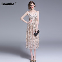 Banulin New 2019 Runway Summer Womens Sexy Spaghetti Backless Sequins Shinning Evening Party Club Midi Dress Vestidos De Festa
