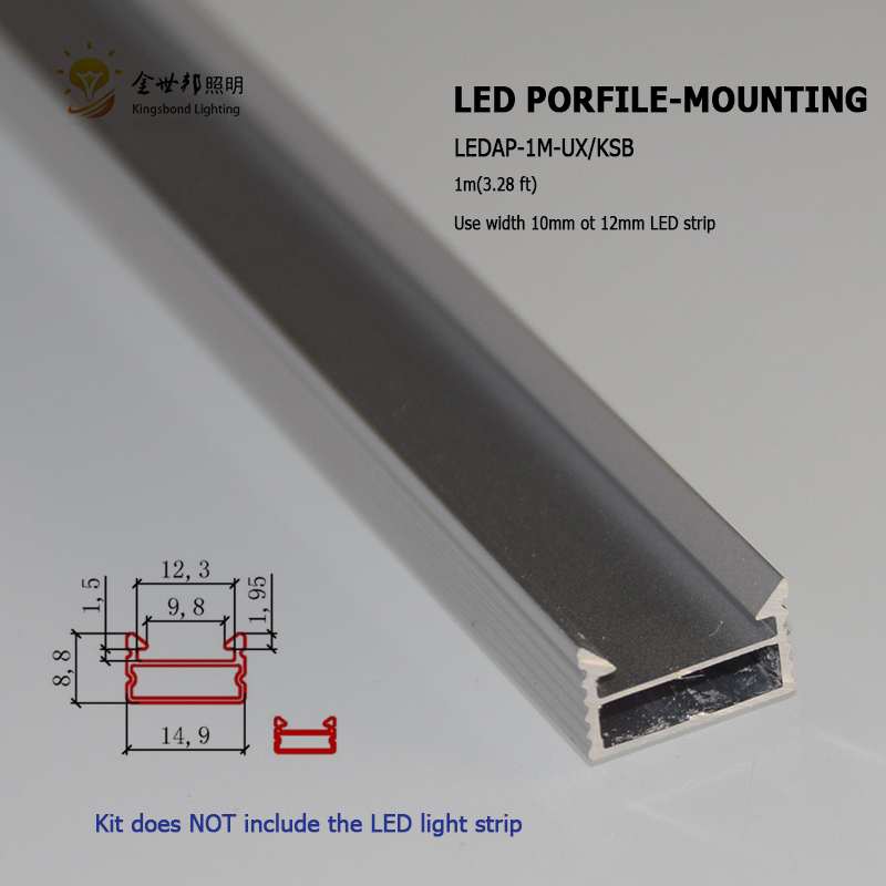 20pcs 1m U type Slim LED aluminum profile for led bar light counter light aluminum led strip housing for led strip 5050 5630