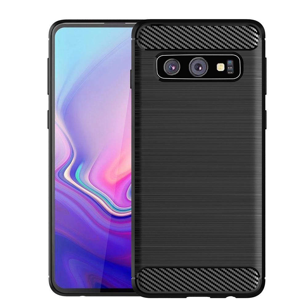 Carbon Fiber Case For Samsung Galaxy S10 Plus Case Silicone Soft TPU For Samsung S10 E Cover Black Drawing Cases
