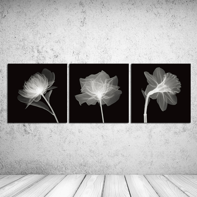 Atfart Living Room Hall Wall Art Handmade Landscape Oil: 3PCS Black White Perspective Handmade Flowers Wall Vintage