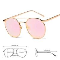 Aoron New Women's Glasses Metal Frame Lens Vintage Fashion Mirrored Oversized Sunglasses