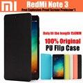 Original xiaomi redmi note 3 pro flip case para redmi note 3 prime teléfono inteligente cubierta de cuero ultra delgado 150mm