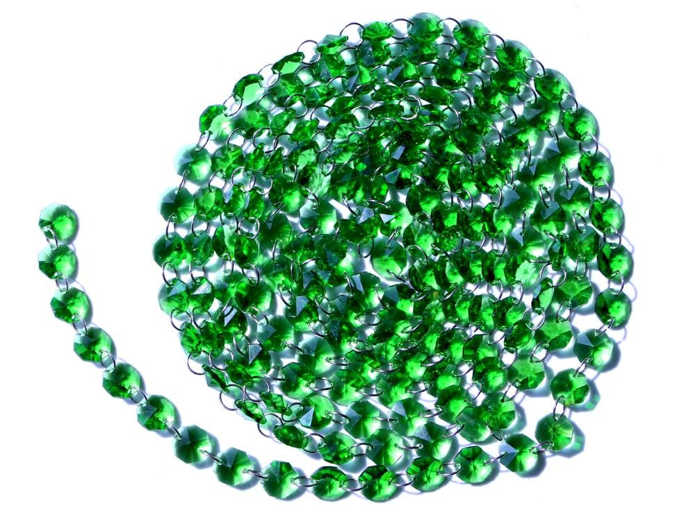 Garland Chakra Spectra 12 nohou diamantové hranoly zelené sklo křišťálové osmiúhelníkové korálky 14mm svatební lustrové díly M02160-4