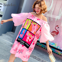 2019 New arrival women slash neck dresses spring and summer fashion cartoon lantern sleeve dresses Vestidos