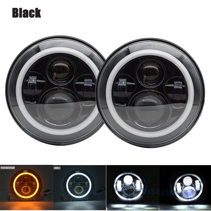 1Pair 7Inch drl LED Headlamps with Halo Ring Angle Eyes Headlights For Jeep wrangler CJ VAZ
