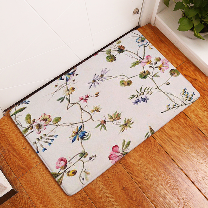2017 Retro Style Stripe Beautiful Flower Print Carpets Anti-slip Floor Mat Outdoor Rugs Creative Front Door Mats
