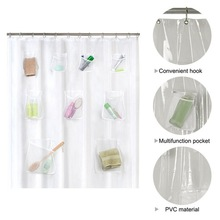 Waterproof Shower Curtain Bath Transparent Water Repellent Mildew Resistant Fabric With