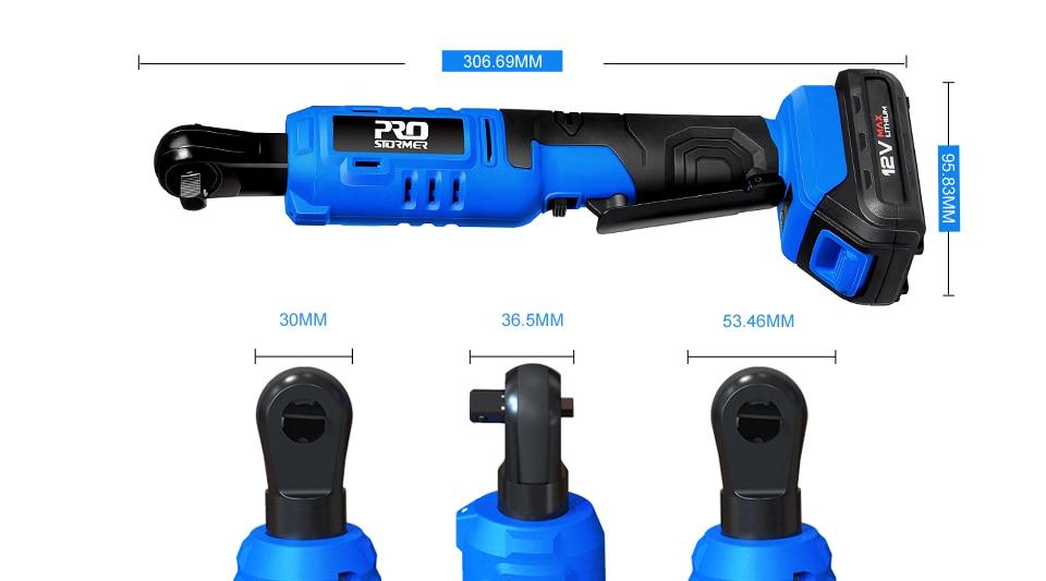 Prostormer 12V Cordless Ratchet Wrench Measurement