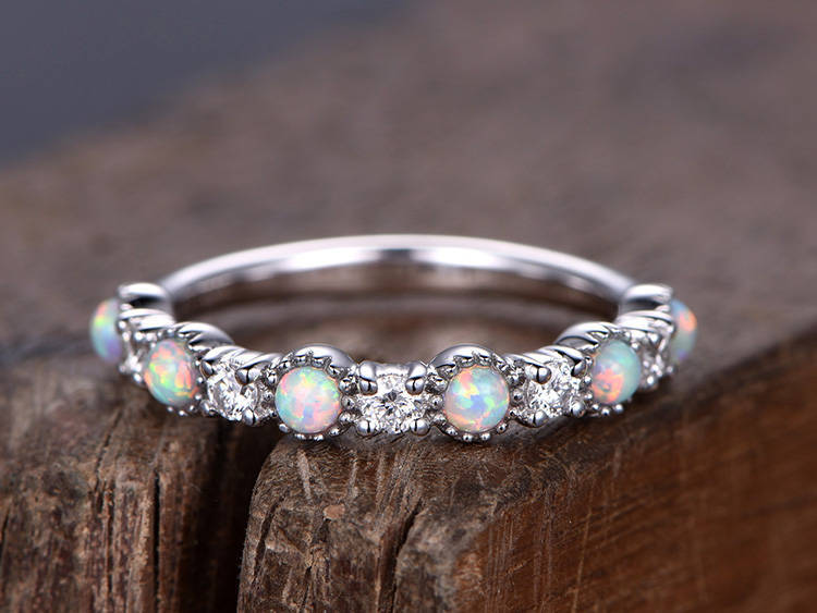Half eternity opal ring 925 sterling silver wedding band White gold plated anniversary ring Art deco stacking matching band серьги art silver art silver ar004dwzmh30