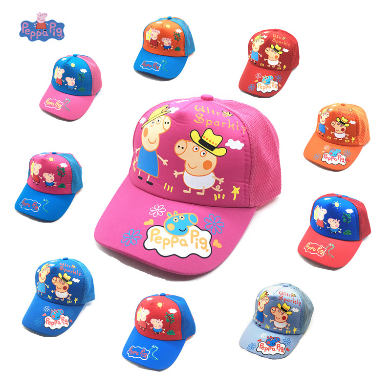 New Peppa Pig Hat Breathable Sun Hat Summer Baseball Net Cap Anime Cartoon Character Boy Girl Gift