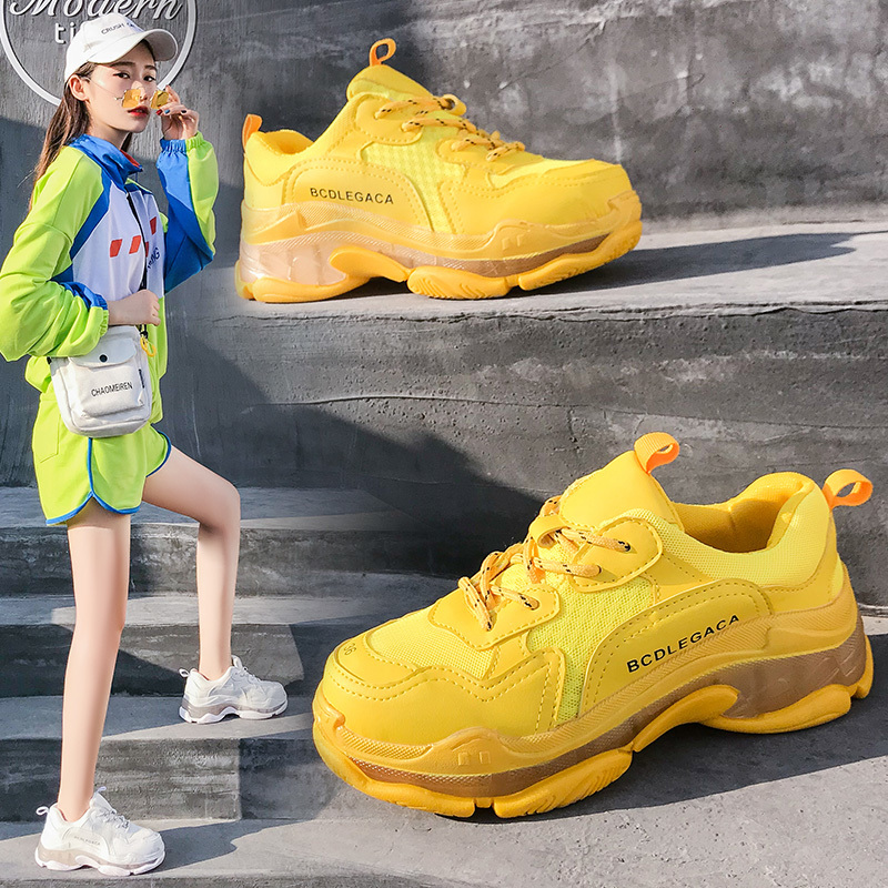 Sneakers Women Yellow Running Shoes Women 2019 Breathable Cushioning Mixed Colors Sport Shoes Outdoor Winter Shoes Women
