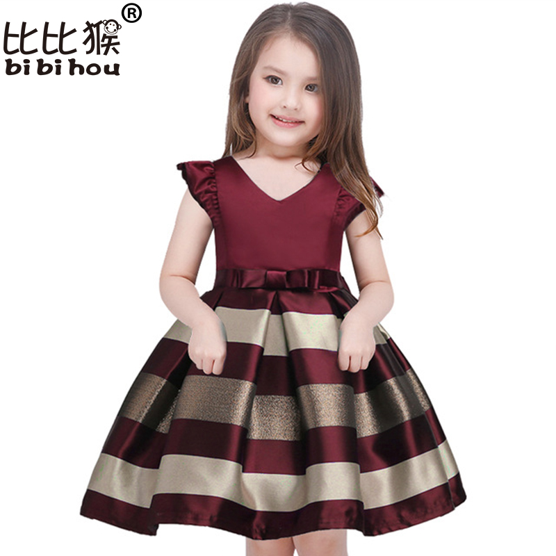 Hot Sale Baby Girls Striped Dress For Girls Formal Wedding Party