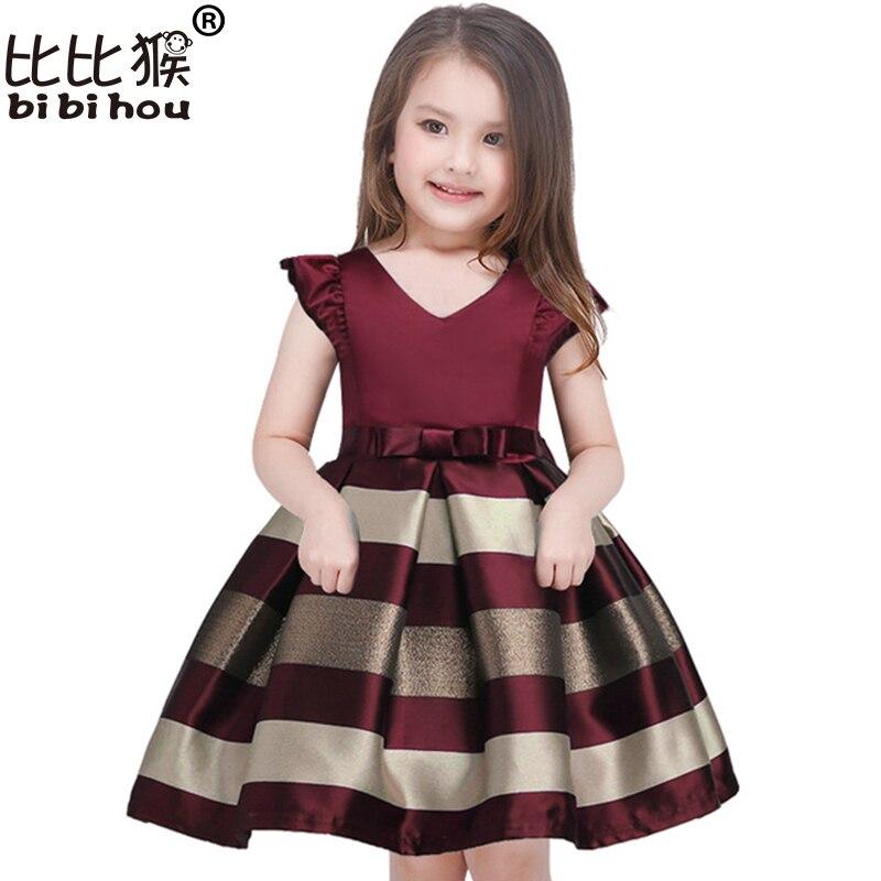 Bebé niñas vestido de rayas para las niñas vestidos de fiesta boda de la princesa niños vestido de Navidad traje de Niños Niñas Ropa