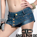 Womens Sexy jeans super shorts plus size 2017Summer Fashion Rivet irregular denim shorts Ladies Skinny jeans short pants Girls