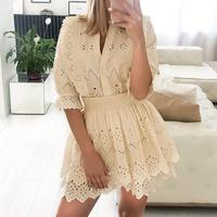 e62e97da7421 Charming Elegant Embroidery Lace Blouse Women Summer Short Sleeve Ruffle  Hollow Out Tops Fashion Ladies Solid