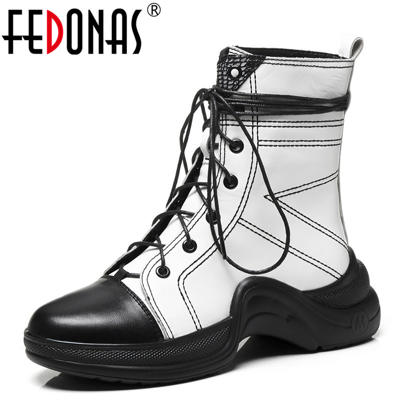 FEDONAS New Women Ankle Boots Genuine Leather Autumn Winter Warm Wedges Heels Shoes Woman Round Toe Cross-tied Sewing Sneakers