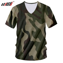 UJWI V Neck shirt Men New Deep Slim Fit  3D Tshirt Print jungle Green camouflage Funny Large Size Costume Male T Shirts