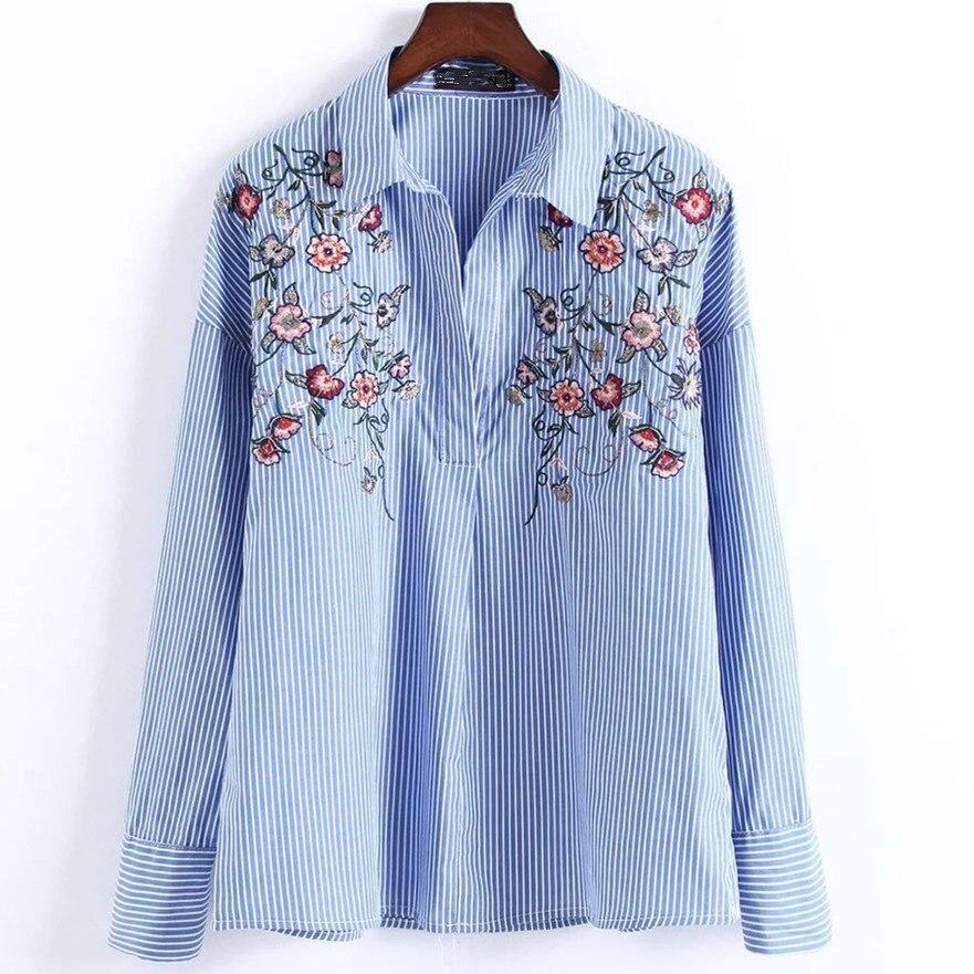 Mujeres Bordado Camisa Azul de Rayas Blusa de Manga Larga
