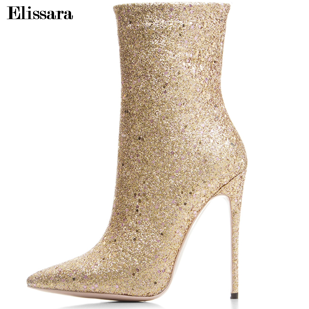Elissara High Quality Women High Heels Ankle Boots Women Thin Heel Boots Ladies Shiny Zip Pointed Toe Shoes Plus Size 33-43 meotina women boots winter pointed toe ankle boots zip high heel women shoes 2018 thin heels solid ladies fashion boots autumn