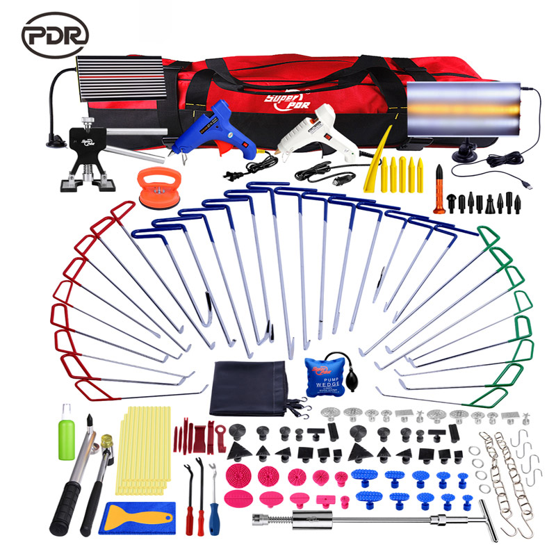 PDR Hooks Tools Kit Push Rod New LED Lamp Reflector Board Dent Puller Glue Tabs For Dent Removal Paintless Dent Repair Tools Set цена