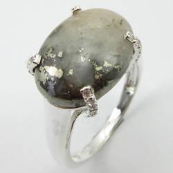 Цельное серебряное Золотое овальное кольцо из пирита льда Размер 8 Женские драгоценные камни ювелирные изделия уникальный дизайн
