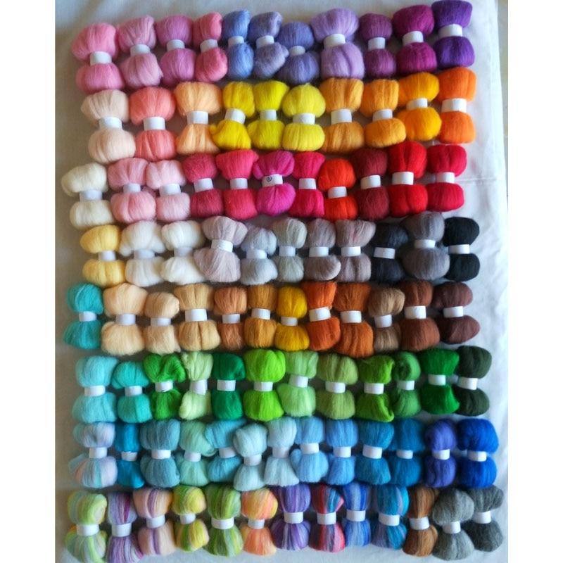 WFPFBEC wędkarstwo hurtownie naaldvilten lana włókna wełny merino wędkarstwo do filcowanie igłą zestaw diy crafa feutrine mieszane kolory 4650g w Włókna od Dom i ogród na  Grupa 1