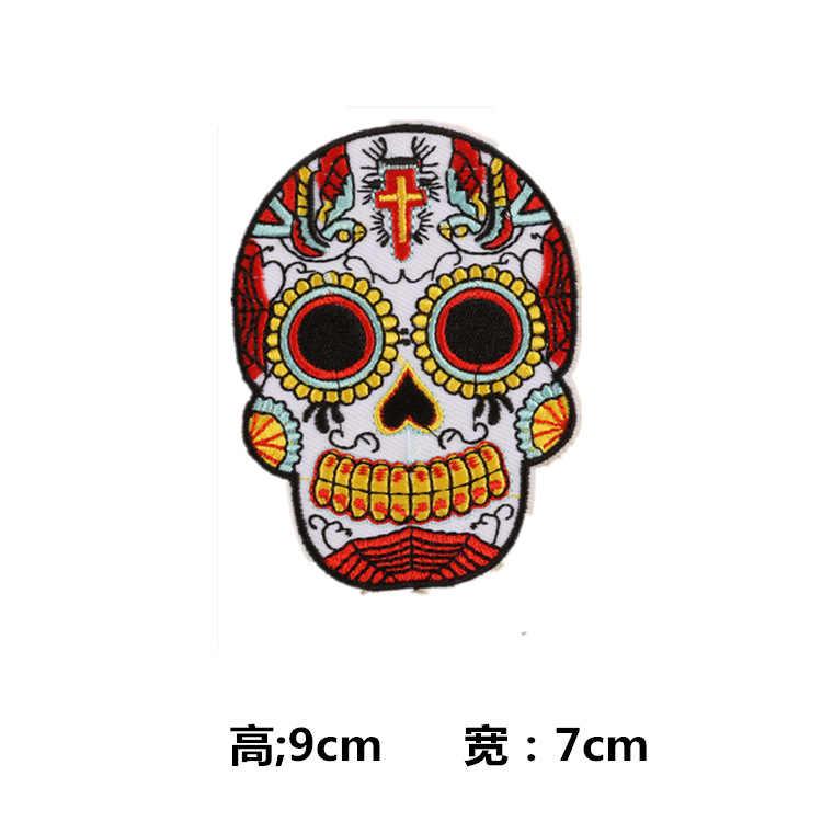1 шт. цветок Роза Череп патч Панк-рок, скелет ручная Музыка патч железо на байкерском дешевые вышитые аппликации заплатка для одежды
