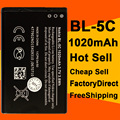 Lowest Price 2pcs/Lot 1020mah Rechargeable BL-5C Battery for Nokia 1000/ 1010/ 1100/ 1108/ 1110/ 1111/ 1112/ 1116