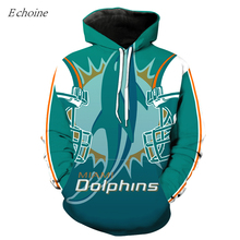 Echoine Green Dolphins American Football Hoodies Men Pockets Athletic Hooded Sweatshirts High Quality Excercise Sweaters Uniform