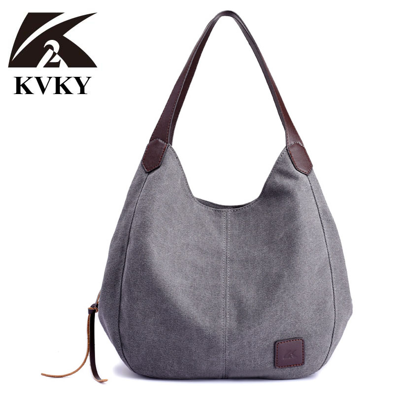 KVKY Autumn Hot Fashion Women's Canvas Tote Handbag Bag Lady Canvas Hobos Shoulder Bag Female Large Capacity Leisure Bag bolsa high quality travel canvas women handbag casual large capacity hobos bag hot sell female totes bolsas ruched solid shoulder bag