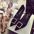 2017 spring and autumn high-heeled shoes thick heel scrub velvet pointed toe single shoes metal side buckle shallow mouth