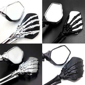Motorcycle Skull Skeleton Hand Side Rearview Mirrors For Harley (8mm) bike For Honda/Suzuki/Kawasaki/Yamaha Vintage Cruiser 10mm
