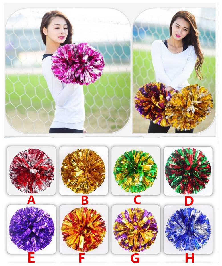 Free Shipping Purple Mix Silver All Star First Single Paragraph Cheerleading Pom Pon Cheerleading Cheer Supplies#1836