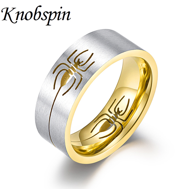 Titanium Steel Hollow Spider Men's Ring Creative Unique Matte Finger Rings Jewelry Fashion Men's Accessories Gift anel masculino