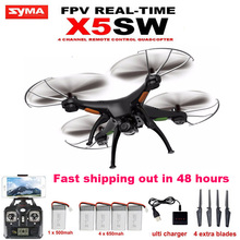 SYMA X5SW WiFi FPV quadcopter RC helicopter drone 2.4GHz 6Axis 4CH add 4pcs 650mah Battery as gift(VS X5C X5SC upgraded version)