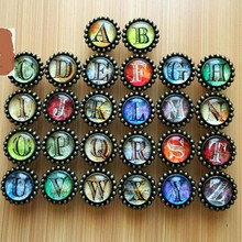 creative retro letter knob bronze glass A B C D E F G H I J K L M N O P Q R S T U V W X Y Z can says drawer cabinet handle knob