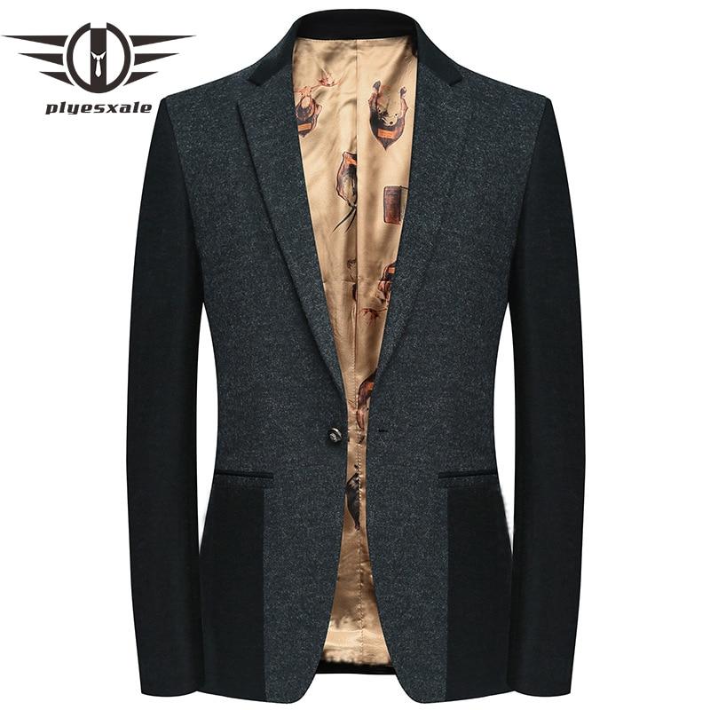 2019 Slim Fit Men Wool Blazer Autumn Fashion Patchwork Designs Woolen Blazer Jacket Classic One Button Mens Blazers Casual Q517