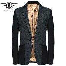 2019 Slim Fit los hombres chaqueta Blazer de lana de moda de otoño  Patchwork diseños de lana chaqueta Blazer clásico un botón pa. 629e9796cd3