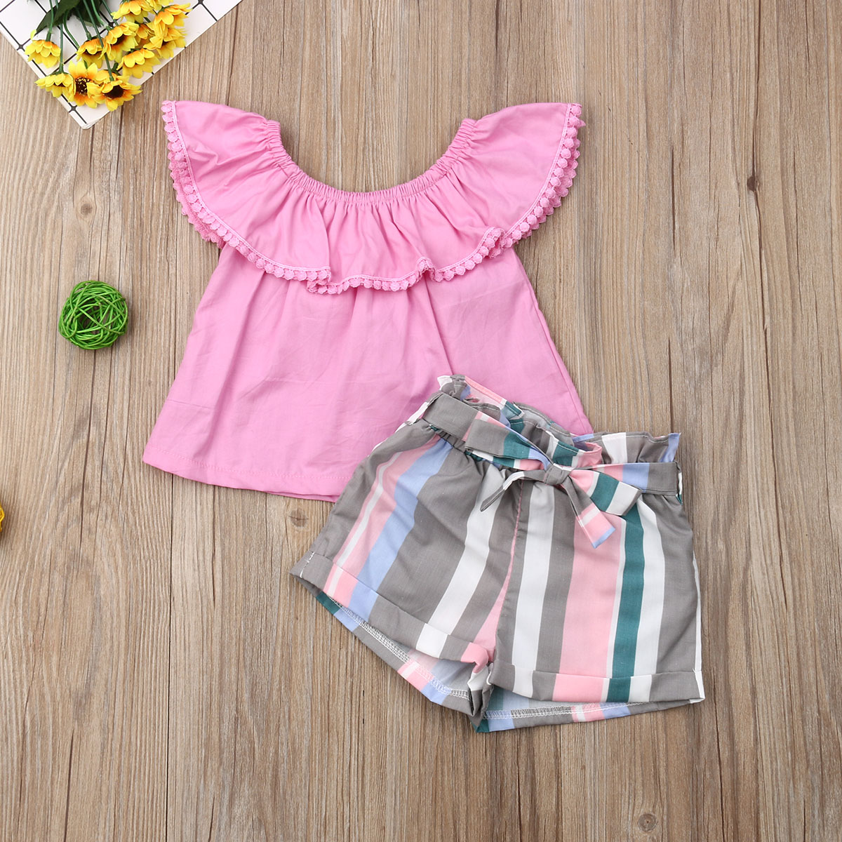 Pudcoco Summer Toddler Baby Girl Clothes Off Shoulder Ruffle Solid Color Tops Striped Short Pants 2Pcs Outfits Casual Clothes