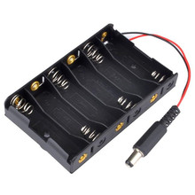 New 6 x AA Battery Case Storage Holder With DC2.1 Power Jack For Arduino Flashlight Batteries Wholesale