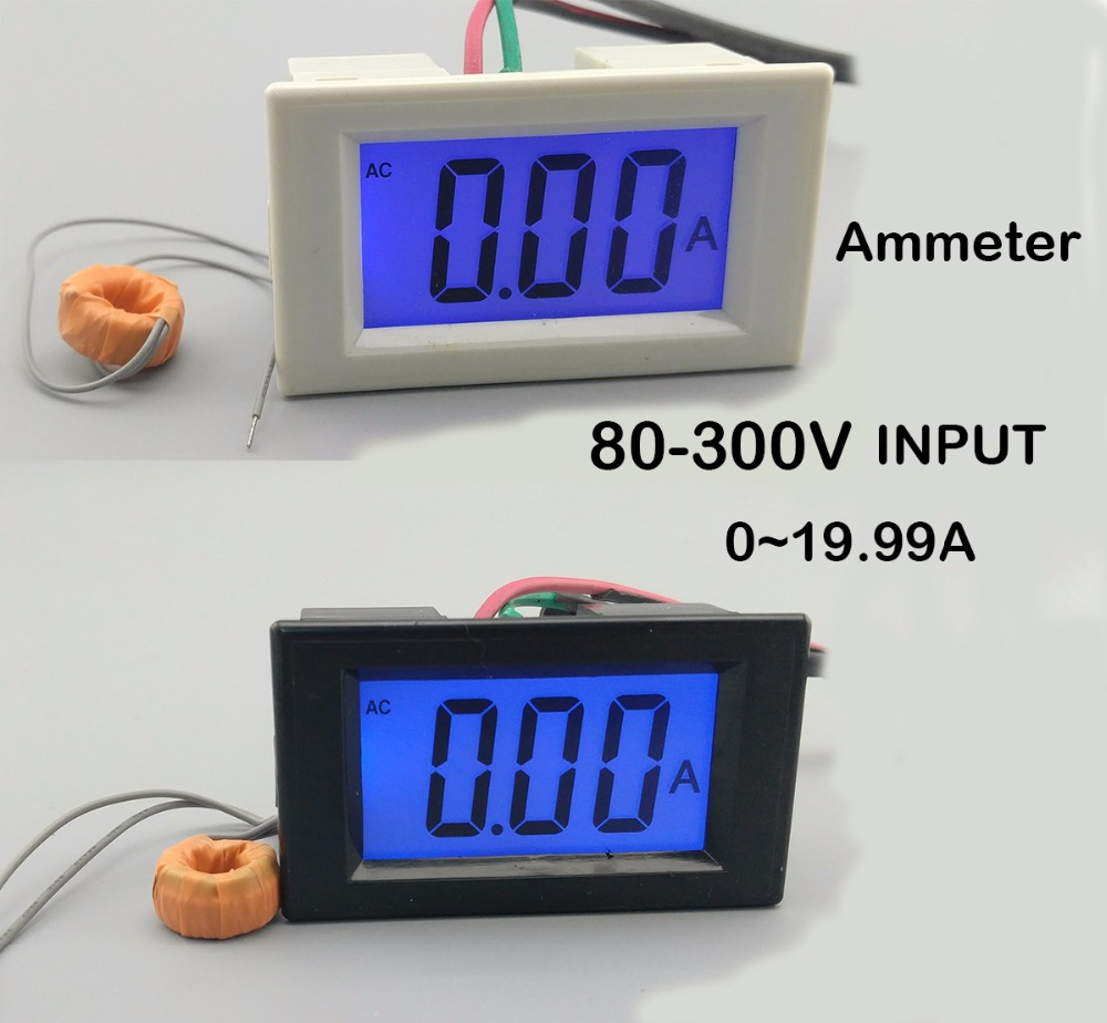 LCD display white and black ampere meter  Ammeter  range AC 0-19.99A  Panel Monitor blue backlight 80-300V Inpute