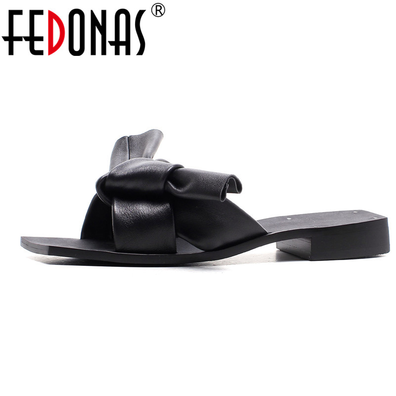 FEDONAS Women Sandals 2018 Summer Genuine Leather Shoes Woman Flip Flops Flats Fashion Female Slippers Ladies Shoes Peep Toe summer leisure slippers slip on round toe comfortable sandals women flat sandals casual flip flops female shoes