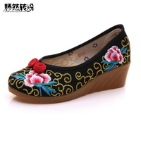 Wegogo Women Pumps Old Beijing Floral Cloth Canvas Embroidery Soft Slip On Vintage Mother Shoes Sapato