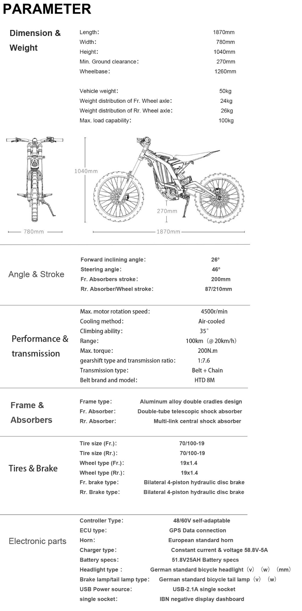 4 PARAMETER  SUR-RON-Firefly-Motorbike-Dimensions
