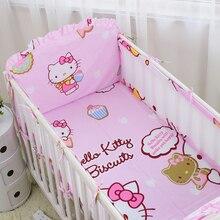 6pcs Cute Baby bedding Cot Set 100% Cotton Crib Bumper 5Pcs Baby Bedding Set Soft Comfortable Cute Cartoon Printed Crib Sets