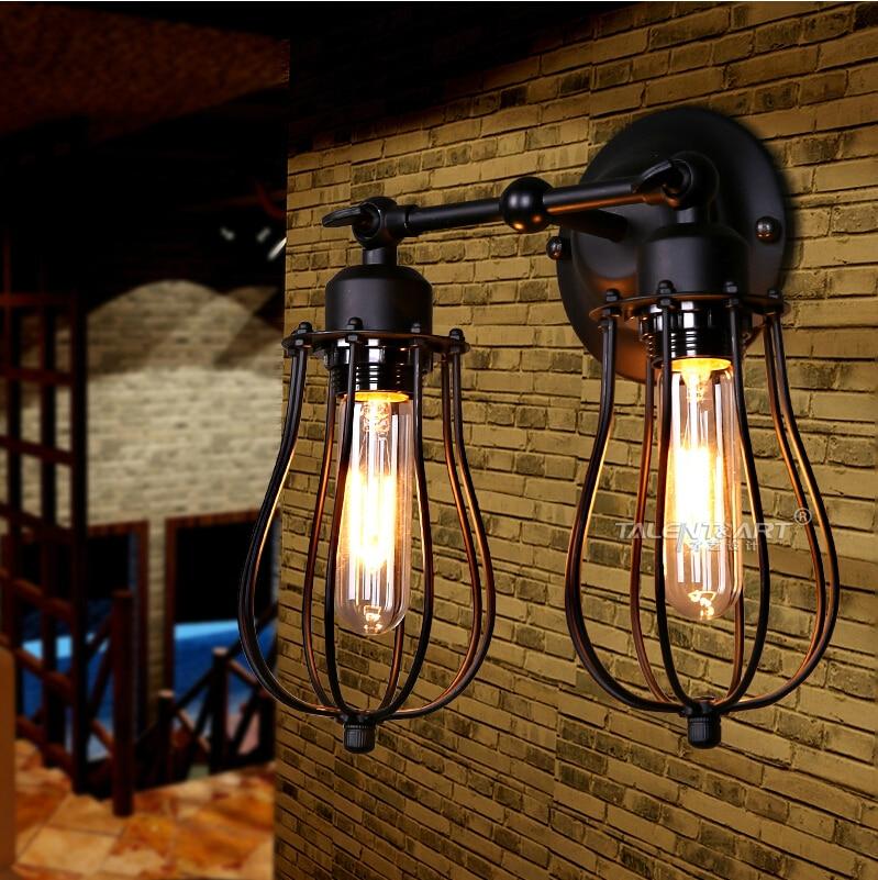 ФОТО American Style Vintage Wall Sconce Lamp Industrial Edison Beside Mounted Cage Art Deco RH Loft Lighting Fixture