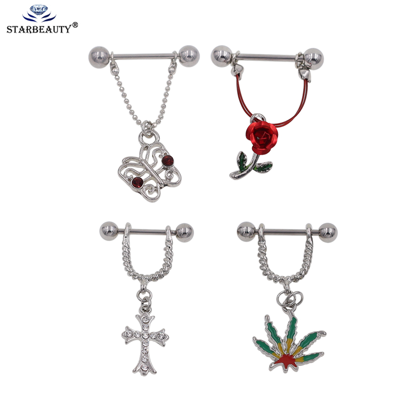 Starbeauty 1Pair Silver color Rose Flower Tree Cross