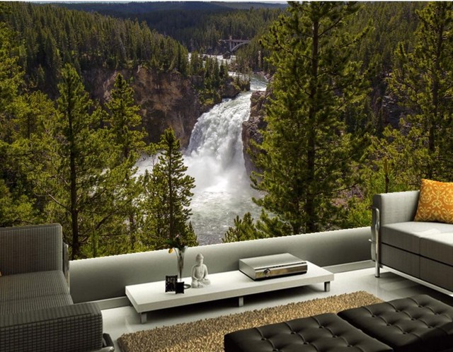 Custom 3d Stereoscopic Wallpaper,Forests Rivers Waterfalls Fir Nature  Wallpapers, Living Room Sofa TV