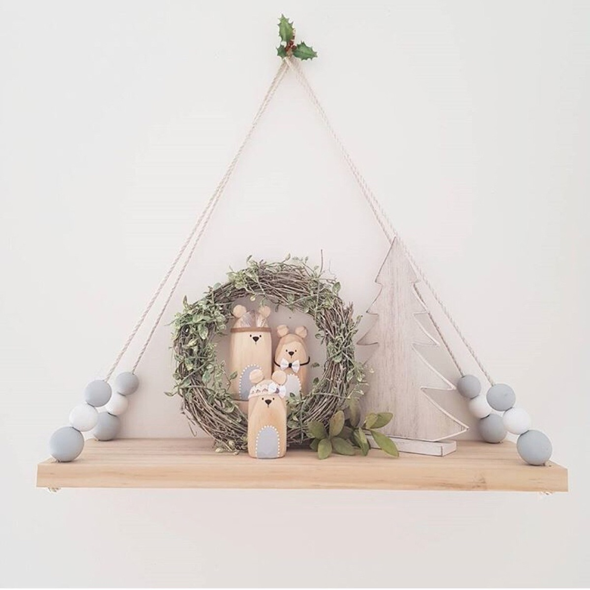 Nordic Style Scandinavia Original Wood Bead Wall Shelf For Books Flower Pot Kid Room Decoration Photography Prop Hanging Shelves