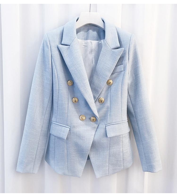 2018 Designer Boutons Femmes Boutonnage Métal Haute Date Extérieure Blazer Lion Veste Double Longues Qualité Manches Bleu De Ciel À FaaYwEx